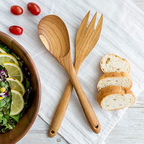 Teak Wood Premium Wood Salad Utensils Set 12 inches