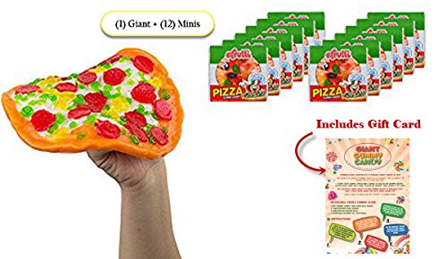 Giant Gummy Candy Pizza PARTY KIT With 12 Mini Gummi Pizzas - Includes Custom Gift Card