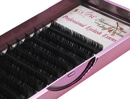 Silk Ellipse Flat Matte Black Semi-Permanent Natural False Eyelashes Extension D Curl 0.20mm Thickness 8-14mm Mixed Length for Professional Salon Use (D Curl Mixed 0.20mm Thickness)