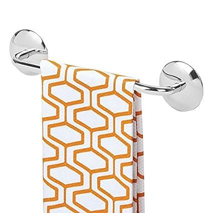 mDesign Toallero adhesivo AFFIXX para paños de cocina y toallas – Montaje sin taladro - Práctico
