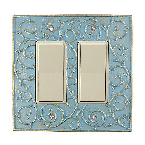 Meriville French Scroll 2 Rocker Wallplate, Double Switch Electrical Cover Plate, Cameo Blue with Gold ()