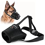 Dog Muzzle, Adjustable Pets Muzzle Mesh Breathable Nylon Soft Muzzle Anti-Biting Barking Mouth Cover or Small Medium Large Ex