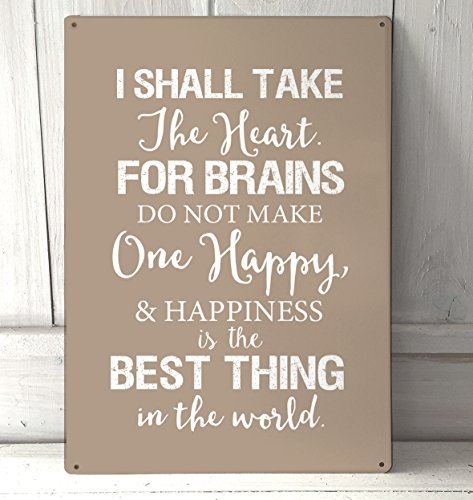 Artylicious I Shall take The Brain, Wizard of oz, Scarecrow Quote A4 Stone Metal Sign Plaque Wall - Wizard Oz Scarecrow Quotes