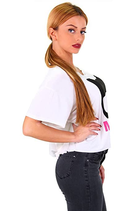 Sexy Crop Top Bauchfreies Shirt MEOW Print in drei Farben: Amazon.de:  Bekleidung