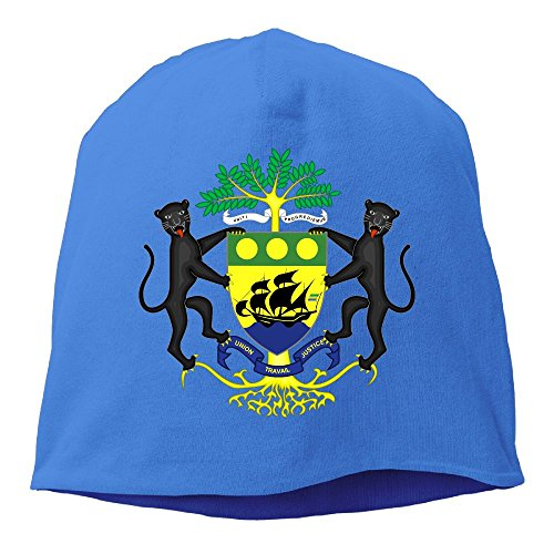 Gabon Coat - Unisex Coat Of Arms Of Gabon National Emblem Knit Beanies Hat, Hip-Hop Skull Cap, Slouchy Beanie, Watch Cap, Baggy Hats, Headwear For Women & Men
