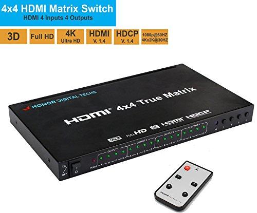 A/v Switcher Matrix (Honor Digital Techs HDMI 4X4 Matrix Switcher 4K HDMI Switch with IR Remote Control Support Ultra HD HDMI 1.4 4KX2K 1080P)