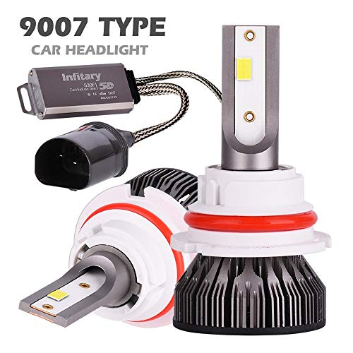 Infitary 9007 LED Headlight Bulbs Conversion Kits High/Low Beam Auto Headlamp Dual Beam Car Headlight 64W 6500K 10000LM Extremely Super Bright- 1 Pair- 3 Year Warranty, CANBus-Ready for 95% Cars