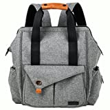 HapTim Multi-function Baby Diaper Bag Backpack with Stroller Straps, Gray Image