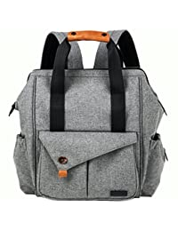 Hap Tim Multi-function Baby Diaper Bag Backpack W/ Stroller Straps- Insulated Pockets- Changing Pad Included, High Quality Nylon Fabric Waterproof for Moms & Dads (Gray)