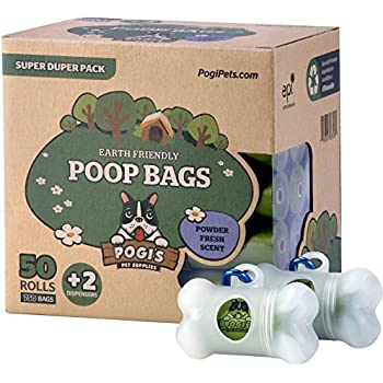 Pogi's Poop Bags - 50 Rolls (750 Bags) +2 Dispensers - Large, Earth-Friendly, Scented, Leak-Proof Pet Waste Bag