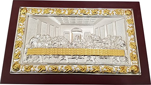 (Holy Land Market Last Supper Orthodox Silver plated Byzantine Icon - Large ( 12.5 x 8 Inches ))