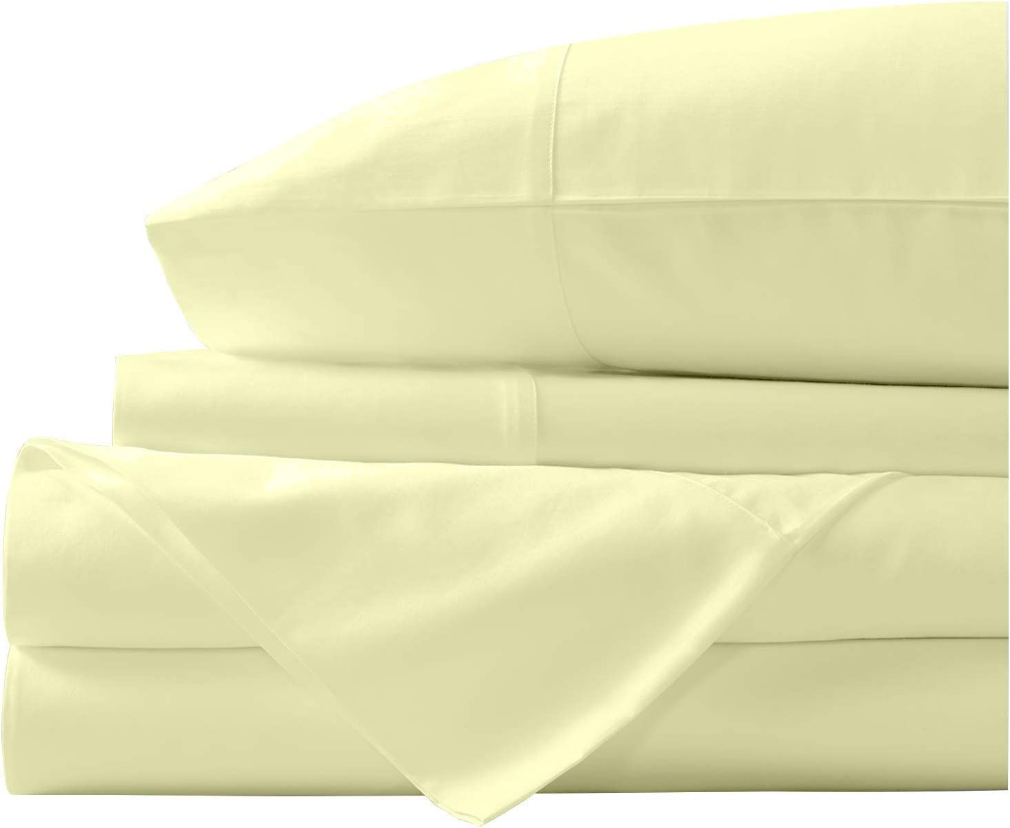 LINENSCAPE 100% Egyptian Cotton Sheets Twin Size, 600 Thread Count Twin Sheets Set, 4 Piece Ivory Bed Sheets, 14 inch Deep Pocket, Sateen Weave, Extra Soft Luxurious Sheets Set
