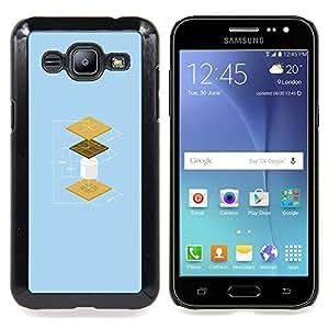 "Qstar Arte & diseño plástico duro Fundas Cover Cubre Hard Case Cover para Samsung Galaxy J2 / J200 (Cookies Divertido Construcción"")"