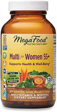 MegaFood, Multi for Women 55+, Supports Optimal Health and Wellbeing, Multivitamin and Mineral Dietary Supplement, Gluten Free, Vegetarian, 120 tablets (60 servings)
