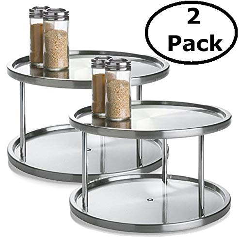 2 Tier 2 PK Lazy Susan - Stainless Steel 360 Degree Turntable - Rotating 2 Level Tabletop Stand for Your Dining Table, Kitchen Counters and Cabinets - Turning Table Spice Rack Organizer Tray - 2 Pack by Lovotex