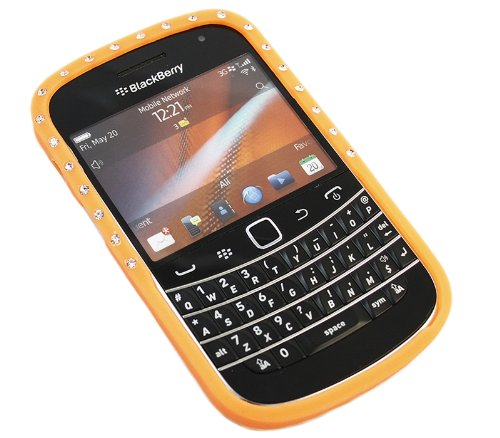 iTALKonline BlackBerry 9900 Bold Touch Orange Bling Diamond Silicone Soft Gelly Jelly Skin Case Protective Cover