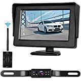 Digital Wireless Backup Camera 4.3'' Monitor and License Plate Rear View Front View for Cars Truck Van Caravan Trailers Camper Camera Guide Lines ON/Off Switch Waterproof Night Vision