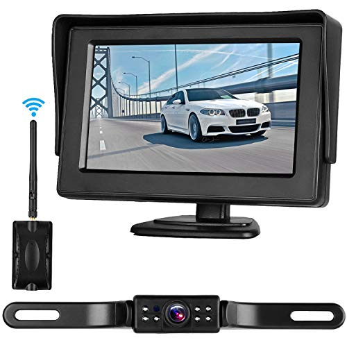 "Digital Wireless Backup Camera 4.3"" Monitor and License Plate Rear View Front View for Cars Truck Van Caravan Trailers Camper Camera Guide Lines ON/Off Switch Waterproof Night Vision For Sale"