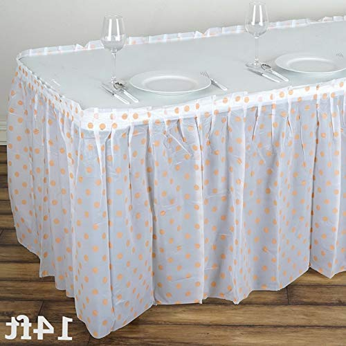 Mikash Polka Dots Plastic Table Skirt 14 feet x 29 Wedding Linens Dinner Decorations | Model WDDNGDCRTN - 9577 |