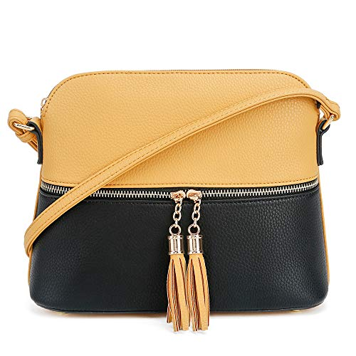 (SG SUGU Lightweight Medium Dome Crossbody Bag with Tassel | Zipper Pocket | Adjustable Strap (Mustard/Black))