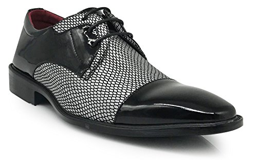 Leon Men's Colonial Spectator Two Tone Cap Toe Oxfords Lace Up Dress Shoes (11, Silver)