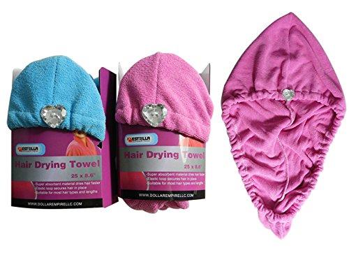 Shower Hair Wrap Towel Pink, Blue Asst, Case of 72