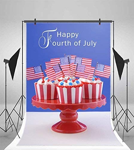 6x8ft Photography Backdrop USA Flag Cupcakes Vinyl Photo Background Happy Independence Day Fourth of July Patriotic Freedom Peaceful Ceremony Decoration Photo Backdrops Studio Props