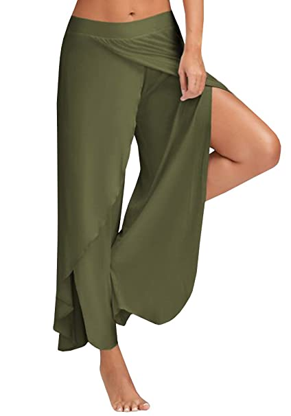 0385b8dfd99d96 Ferbia Women's High Slit Solid Flowy Layered Crooped Palazzo Pants /Army  Green