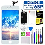 Screen Replacement for iPhone 6S Plus 5.5inch White,Tokmali LCD Display Touch Screen Digitizer Frame Full Assembly,Complete 9 Pcs Repair Tools Kit Screen Protector (IP 6SP-White)