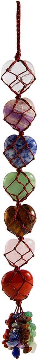 Bivei Chakra Stones Reiki Healing Crystals Hanging Ornament Handmade Home Decoration for 7 Chakras Balancing,Crystal Therapy,Yoga Meditation(Heart)