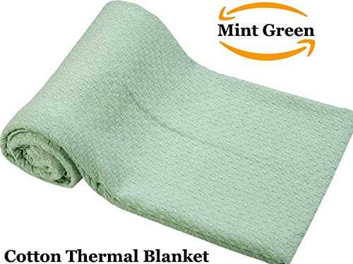 All season Cotton Thermal Blanket in Basket Weave Design - Perfect for Layering Any Bed, Queen size, Mint Leaf Green color Size 90