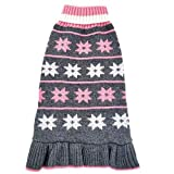 """azuza Dog Sweater Dogs Dress Pullover Turtleneck Knit Back Length 10"""" Snowflake Fall Winter Warm for Small Dogs Sweater Pink"""