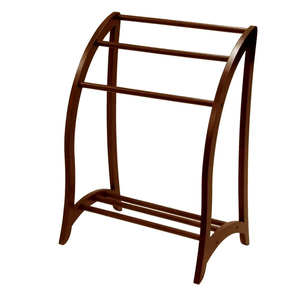 Quilt Racks Free Standing Wood, Contemporary Walnut Rustic Simple Traditional Three Bar Scroll Rack & E-Book by Quilt
