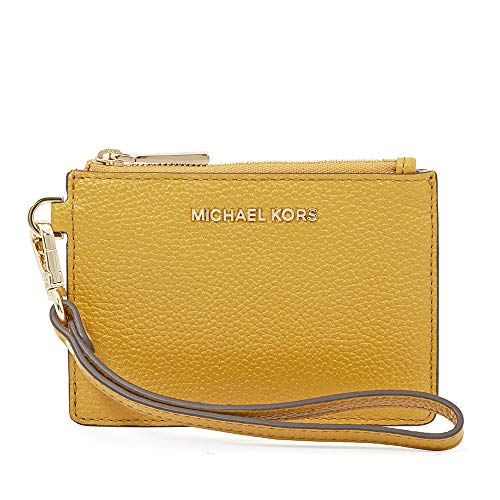 (Michael Kors Small Mercer Pebbled Leather Coin Case- Marigold)