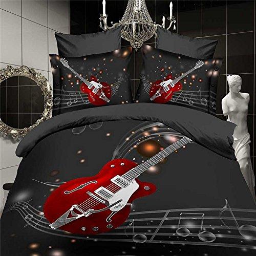Suncloris,3d Fashion Red Guitar and Musical Queen Size, 4pc Bedding Sheet Sets,Duvet Cover,Flat Sheet,2* Pillowcase(no Comforter inside)