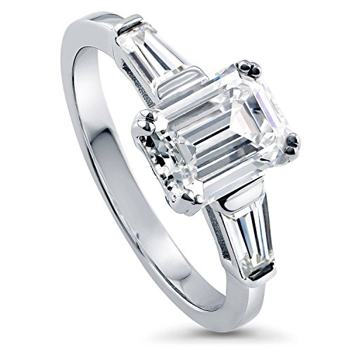 Emerald Cut Cubic Zirconia Ring - BERRICLE Rhodium Plated Sterling Silver Cubic Zirconia CZ 3-Stone Engagement Ring Size 10