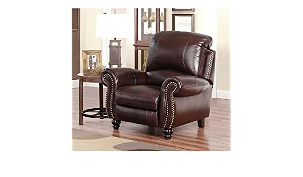 Superbe Amazon.com: ABBYSON LIVING Madison Premium Grade Leather Pushback Recliner  With A Stylish Two Tone Dark Burgundy Leather And Strong Hardwood Frame ...