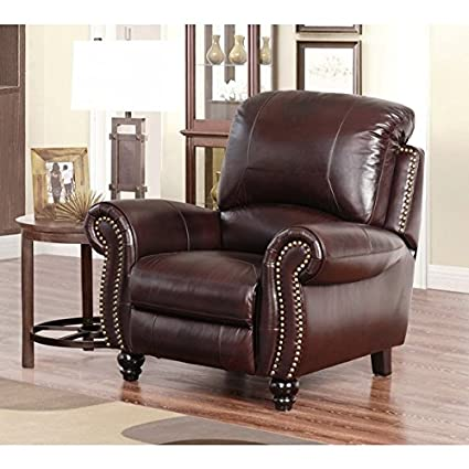 Charmant ABBYSON LIVING Madison Premium Grade Leather Pushback Recliner With A  Stylish Two Tone Dark Burgundy