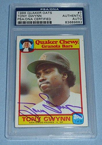 Tony Gwynn Signed 1986 Topps Quaker Oats Baseball Card #7 COA Autograph - PSA/DNA Certified - Baseball Slabbed Autographed (Tony Gwynn Autographed Baseball)