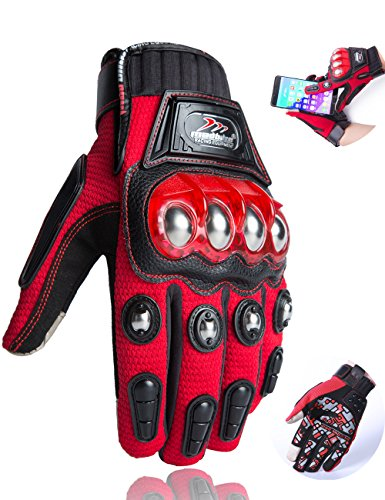Motorcycle Gloves,Alloy Dirt Bike Motocross Motorbike Power Sports Racing Gloves Touch Screen Steel Reinforced Knuckle (Red,XXL)