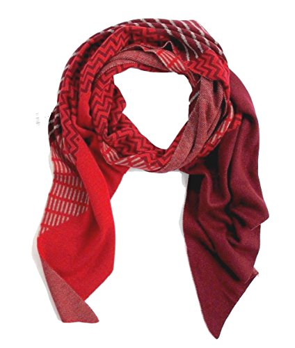 J. Jill - Women's - Zig Zag Geometric Patterned Intarsia Knit Scarf (Red) from J Jill
