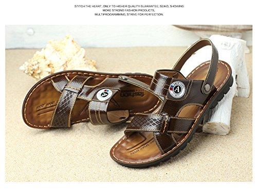 estate Il nuovo Spiaggia Uomini sandali Base morbida quotidiano tendenza Uomini sandali Uomini Spiaggia scarpa vera pelle traspirante sandali ,Marrone,US=9,UK=8.5,EU=42 2/3,CN=44