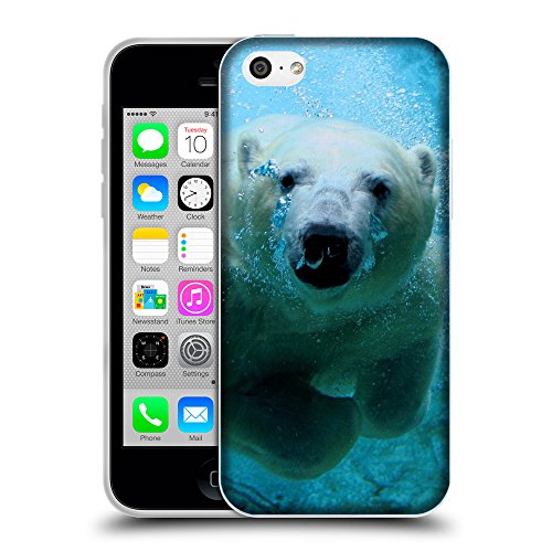 Just Phone Cases Coque de Protection TPU Silicone Case pour // V00004111 Polar ours blanc plongée // Apple iPhone 5C