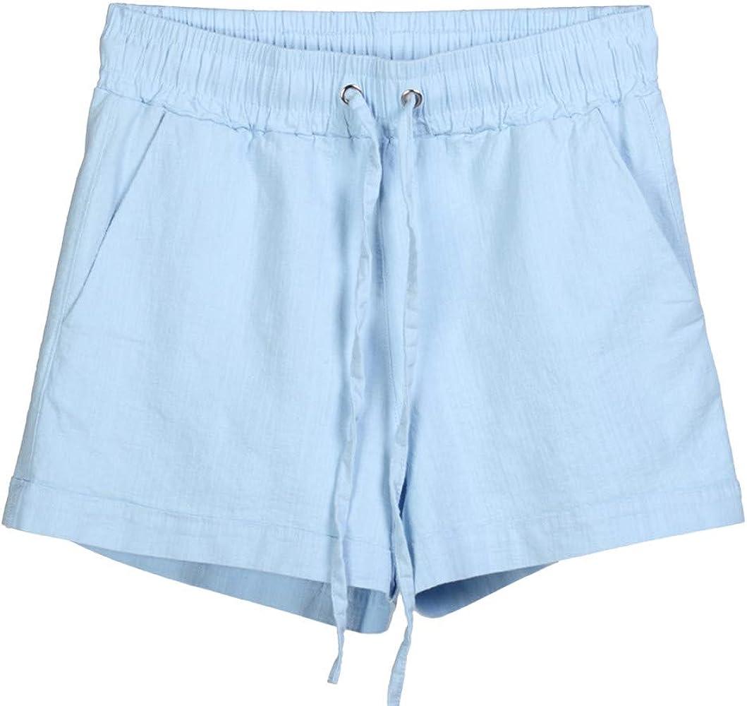 beautyjourney Shorts de Verano para Mujer en algodón y Lino ...