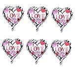 6pcs Heart Shape Foil Balloons I LOVE YOU Helium