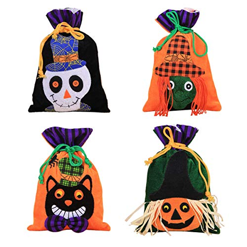 Amidaky 4 Pcs Halloween Trick or Treat Bags, Halloween Candy Favor Drawstring Bags Cute Halloween Goody Basket Bucket for Kids Girls Boys Halloween Party Favors Gifts Snacks Tote Bags