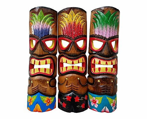 Set-of-Three-Wooden-Handcarved-20-Tall-Tiki-Masks-Hawaiian-Beach-Style-With-Flower-Shorts