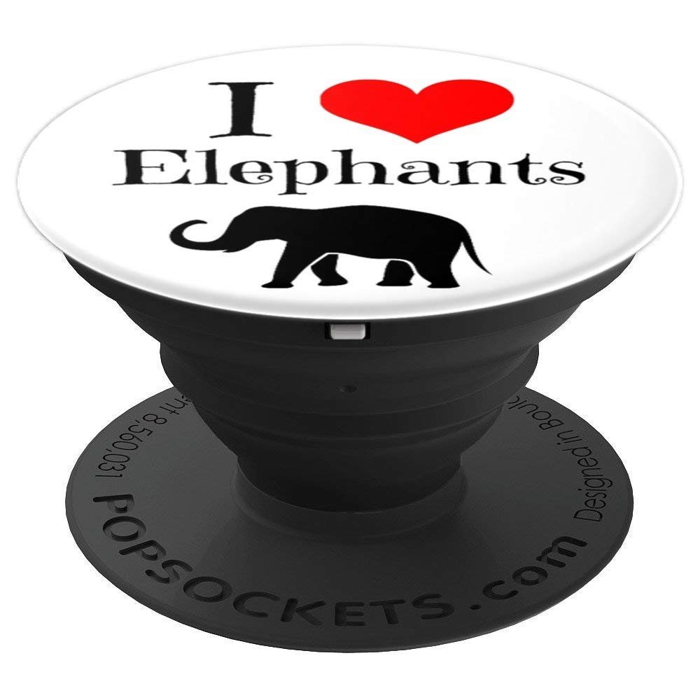 I Love Elephants PopSocket Funny Lucky Animal Lover - PopSockets Grip and Stand for Phones and Tablets