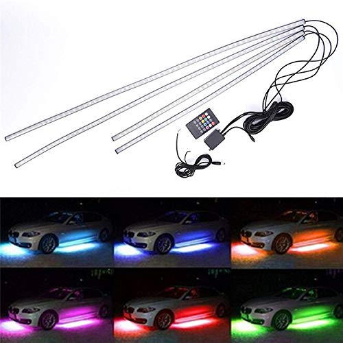 - SOCAL-LED 4x LED Undercar Glow Light Strip RGB 8 Color LED Underbody Kit Underglow Accent Light, Wireless Remote Control, Sound Activated, 36