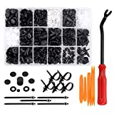 Preciva 415 PCS Car Retainer Clips & Plastic Fasteners Kit with Removal Tools - 18 Sizes of Plastic Push Rivets Clips Kit Fit for Ford Chrysler Toyota Mazda Honda SUZUKI